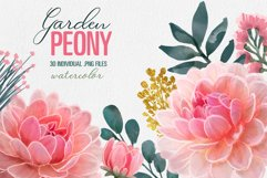 Peony Floral Clip Art set of 30 PNG files pink purple flower Product Image 3