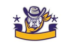 Bulldog Sheriff Cowboy Head Banner Retro Product Image 1