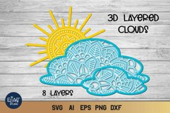 3d SVG Layered Sun and Clouds | Sunshine SVG Product Image 1