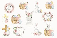 Watercolor Easter clipart, Cute Easter Bunny clipart Product Image 2