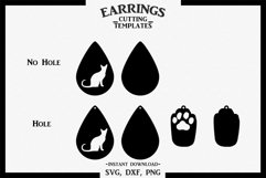 Cat Earrings, Paw, Silhouette, Cricut, Cut File, SVG DXF PNG Product Image 2
