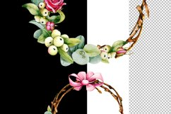 Christmas wreath, watercolor illustration, eucalyptus, roses Product Image 3