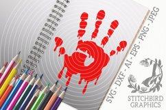 Bloody Handprint SVG, Silhouette Studio, Cricut, Eps, Dxf Product Image 1