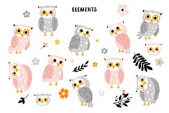 Cute owls with flowers. Product Image 3