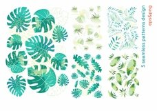 Hide in tropical leaves! Summer hand drawn patterns set Product Image 6