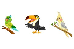 Set of Six Exotic Tropical Birds Cartoon Product Image 2