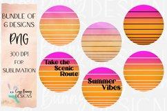 Sublimation Summer Sunset Background Bundle - Retro - 6 PNGs Product Image 1