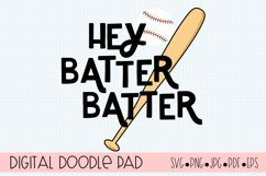 Baseball SVG | Hey Batter | Silhouette and Cricut Cut Files Product Image 2