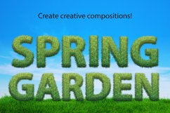 Grass spring summer alphabet. PNG graphic eco font Product Image 4