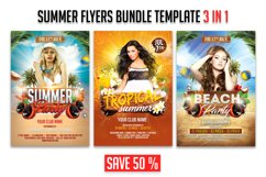 Summer Party Flyer 3 in 1 Bundle Template Product Image 1