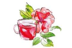 Watercolor tea vector set Product Image 4