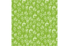 Garden seamless pattern - bird, flowers, trees and bushes se Product Image 1