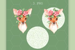 Fawn with pink roses. Clipart Product Image 2