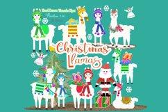 Christmas Llama Clipart, Winter, Santa, Transparent PNG Product Image 3