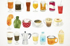 Watercolor Drinks Clipart, Drinks Clip Art, Beverage Clipart Product Image 2