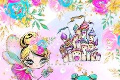 Fairy Clipart, Unicorn Dragon Frog Castle Clipart Product Image 5