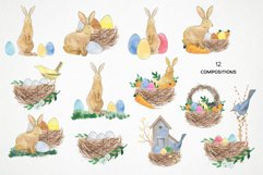 watercolor easter bunny png, rabbit easter basket, bird nest Product Image 2