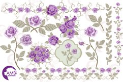 Purple roses, Wedding clipart, shabby chic, Purple Roses clipart, Bridal Shower, Flower Embellishments,lipart, graphics and illustrations AMB-1030 Product Image 5