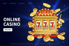 Online casino landing page. Slot machine gamble poster, prom Product Image 1