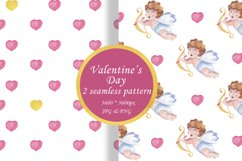 Watercolor seamless pattern Valentine's day digital paper Product Image 1