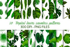 Hand drawn tropical leaves seamless pattern set Product Image 1