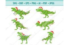 Christmas Dinosaur Svg, Santa T-Rex Svg, T-Rex Png, Eps, Dxf Product Image 1
