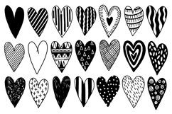 Heart set doodle style black color Product Image 1