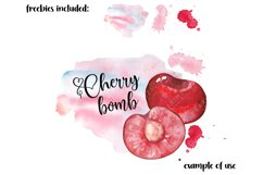 Kitchen clipart, Food clipart, Watercolor Cherry clipart png Product Image 5