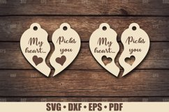 Keychain SVG Glowforge file, My Heart Picks You Keychain SVG Product Image 1