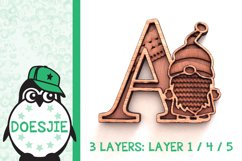 Gnome letters 3D multi layer mandala layered alphabet bundle Product Image 9