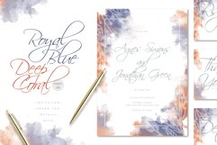 Royal Blue Deep Coral Watercolore Wedding Invitation Suite Product Image 1