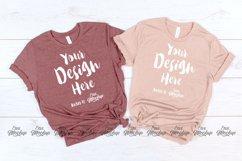 Heather Mauve Heather Peach Bella Canvas 3001 T Shirt Mockup Product Image 1