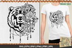Bear with Flowers SVG   Bear svg   Boho Bear svg   Mama Bear Product Image 1