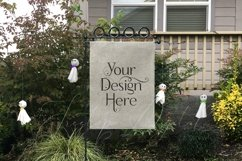 Yard Flag Mockups for Halloween, White & Burlap Flag Mock-Up Product Image 3
