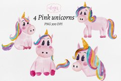 Watercolor baby unicorn clipart, hand painted unicorns Product Image 5