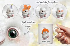 White owl clipart collection. Animal portrait. Floral frame. Product Image 3