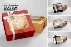Square Flip Top Cake Box Packaging Mockup Product Image 6