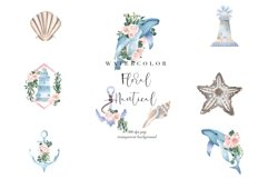 Nautical Floral Watercolor Clipart, Transparent PNG, Summer Product Image 1