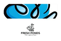 Fresh Ponds - Continuous Line Style Floating Swan Stock Logo Product Image 3