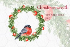 Christmas wreath with bullfinch. Watercolor Product Image 1