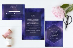 Purple Blue Abstract Watercolor Wedding Invitation Set Product Image 2