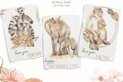 Mom and baby animals Watercolor Product Image 7