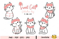 Cute cat Valentine Clip art set, Sweet kitten Valentine Product Image 1