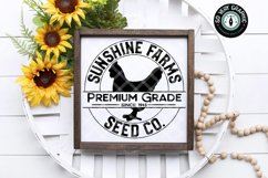 Sunshine Farms Seed Co Hen Farmhouse Round Sign SVG Cut File Product Image 1
