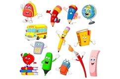 Set of Thirteen Cartoon School Supplies Character Product Image 1