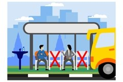 Social distancing on Bus stopflat ilustration Product Image 1