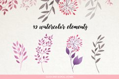 Watercolour floral borders& patterns Product Image 4