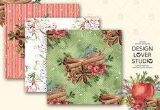 Watercolor Apple Cinnamon digital paper pack Product Image 4