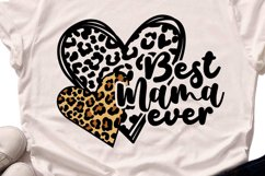 Best Mama Ever - Leopard Heart Mama SVG DXF EPS PNG Product Image 2