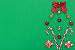 Two Christmas canes with gift boxes, red and gold Xmas balls Product Image 1